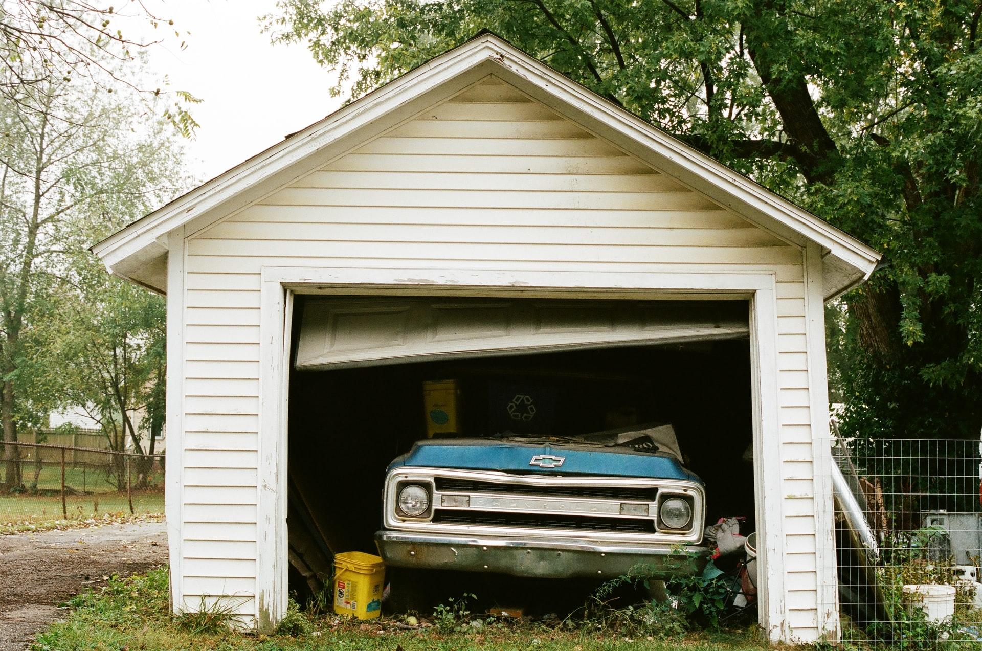 A car parked in a garage